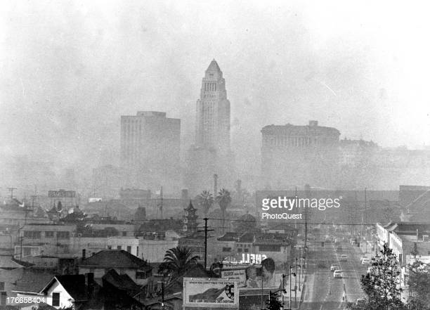 Third of a series of three pictures showing stages of smog formation in Los Angeles California 1940s