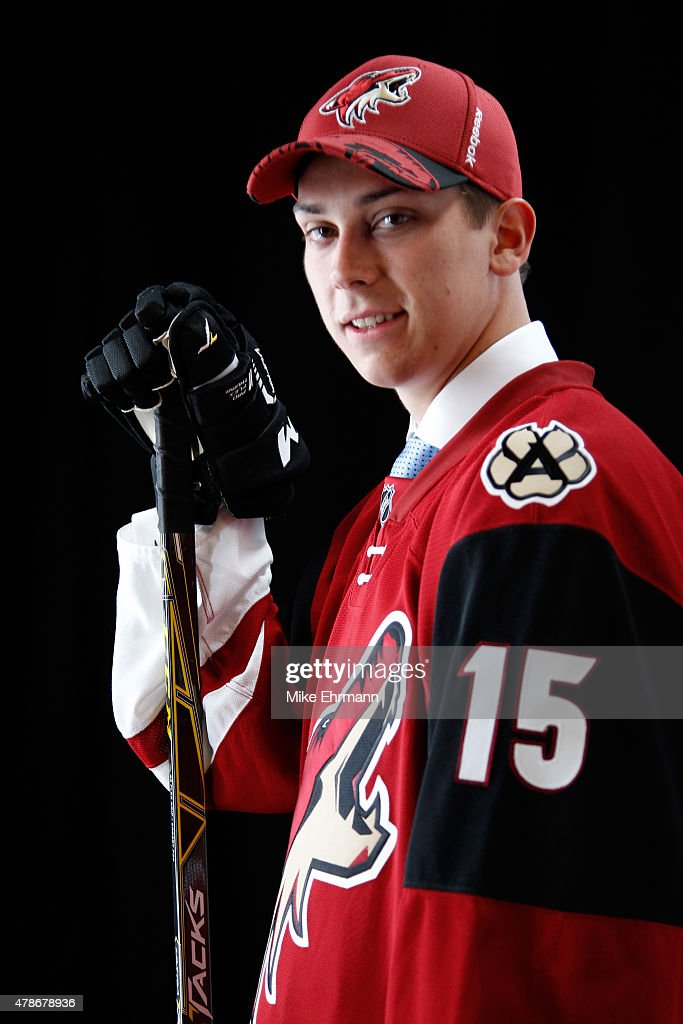 Third overall pick Dylan Strome (Top) of the Arizona Coyotes poses for a portrait during the 2015 NHL Draft at BB&T Center on June 26, 2015 in Sunrise, Florida.