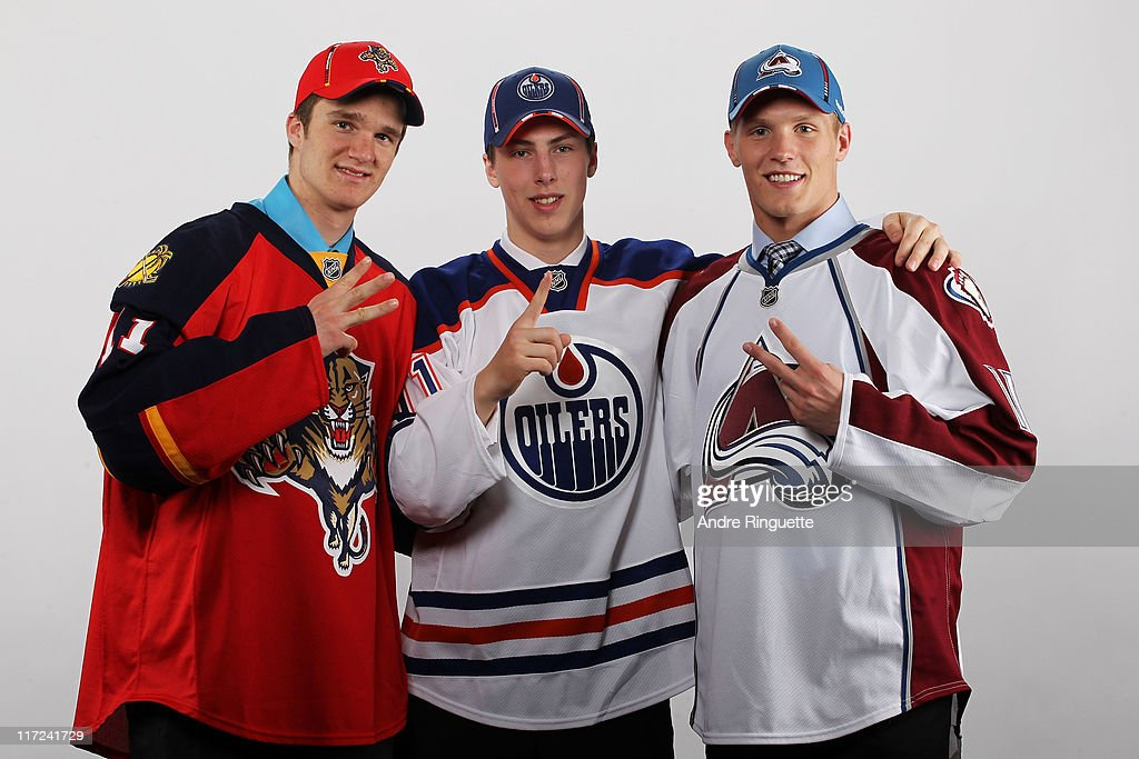 Third overall pick Jonathan Huberdeau of the Florida Panthers, first overall pick Ryan Nugent-Hopkins of the Edmonton Oilers and second overall pick Gabriel Landeskog of the Colorado Avalanche pose for a photo portrait during day one of the 2011 NHL Entry Draft at Xcel Energy Center on June 24, 2011 in St Paul, Minnesota.