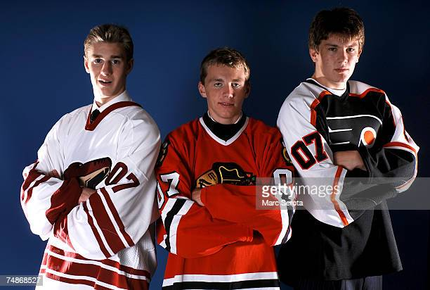 Third overall pick Kyle Turris of the Phoenix Coyotes first overall pick Patrick Kane of the Chicago Blackhawks and second overall pick James...