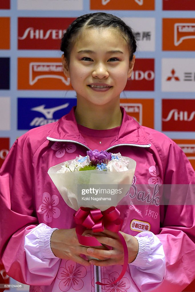 Third place <a gi-track='captionPersonalityLinkClicked' href=/galleries/search?phrase=Aiko+Sugihara&family=editorial&specificpeople=14503395 ng-click='$event.stopPropagation()'>Aiko Sugihara</a> poses for photographs at the ceremony during the Artistic Gymnastics NHK Trophy at Yoyogi National Gymnasium on May 4, 2016 in Tokyo, Japan.