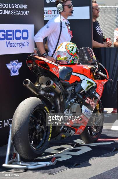 Third place bike of Chaz Davies Ducati Panigale R Arubait Racing Ducati on display at the SBK/MOTUL FIM Superbike World Championship on July 8 2017...