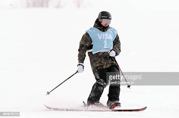Third place finisher Gus Kenworthy of the United States completes his second run on one ski after crashing during the FIS Snowboard World Cup 2015...