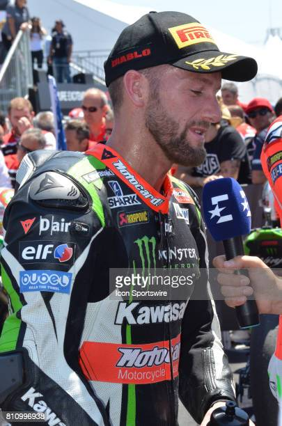 Third place finisher of race one Tom Sykes Kawasaki ZX10RR Kawasaki Racing Team is interviewed by the media at the SBK/MOTUL FIM Superbike World...