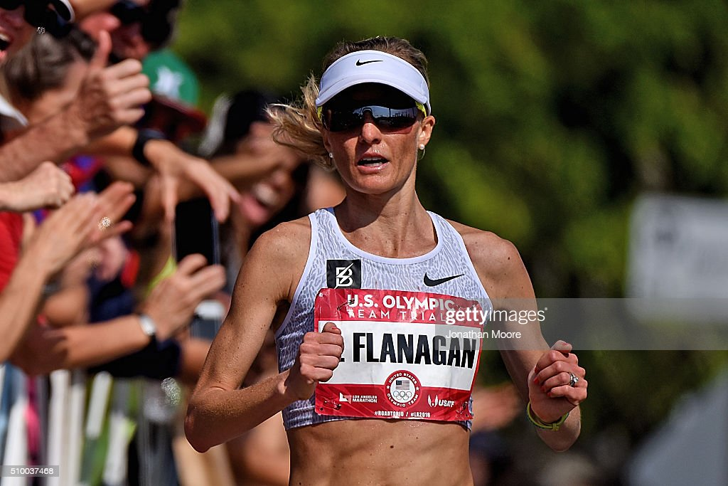 Third place finisher of the women's race <a gi-track='captionPersonalityLinkClicked' href=/galleries/search?phrase=Shalane+Flanagan&family=editorial&specificpeople=2336331 ng-click='$event.stopPropagation()'>Shalane Flanagan</a> approaches the finish during the U.S Olympic Marathon Team Trials on February 13, 2016 in Los Angeles, California.