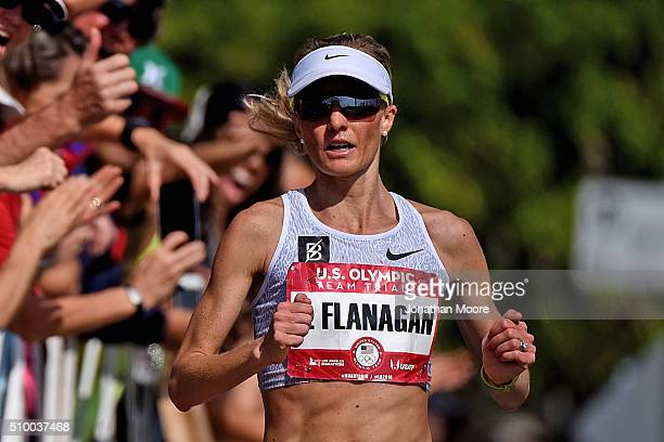 Third place finisher of the women's race Shalane Flanagan approaches the finish during the US Olympic Marathon Team Trials on February 13 2016 in Los...