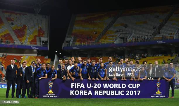 Third place finishers Italy pose after the FIFA U20 World Cup Korea Republic 2017 Final between Venezuela and England at Suwon World Cup Stadium on...