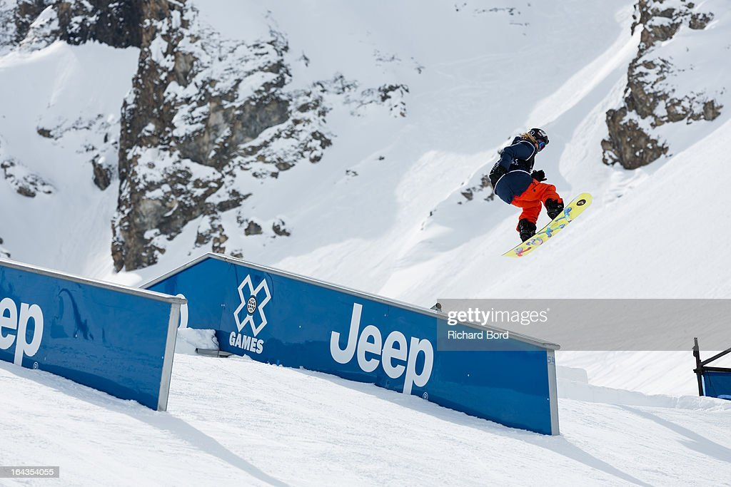 Third place Kjersti Oestgaard Buaas performs during the Woman's Snowboard Slopestyle final during day five of Winter X Games Europe 2013 on March 22, 2013 in Tignes, France.