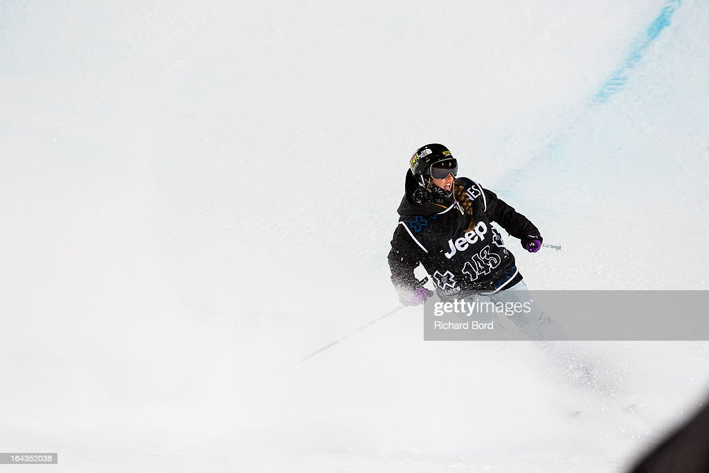 Third place Maddie Bowman after her last run during the Woman's Ski Superpipe final during day five of Winter X Games Europe 2013 on March 22, 2013 in Tignes, France.