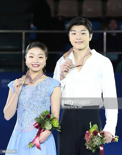 Third place winner Maia Shibutani and Alex Shibutani of United States pose on the podium after the medals ceremony of the Ice Dance on day two of the...