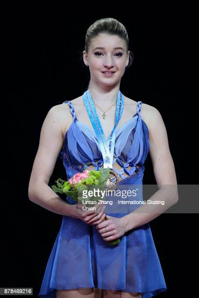 Third place winner Maria Sotskova of Russia pose on the podium after the Ladies Free skating duirng the 2017 Shanghai Trophy at the Oriental Sports...