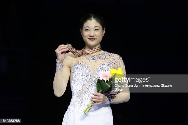Third place winner Mirai Nagasu of United States pose on the podium after the medals ceremony of the Ladies skating during ISU Four Continents Figure...