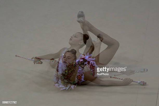 Third placed Aleksandra Soldatova of Russia performs with the hoop during the final of the FIG Rhythmic Gymnastics World Cup in Lisbon Portugal on...