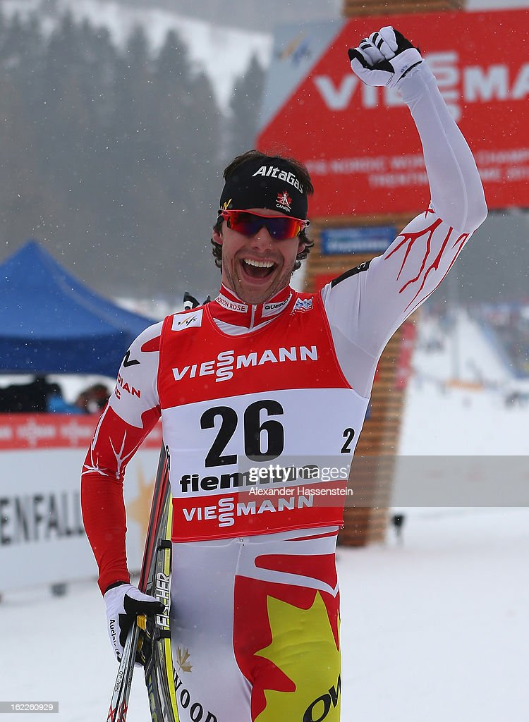 Third placed Alex Harvey of Canada celebrates following the Men's Cross Country 1.5km Classic Sprint Final at the FIS Nordic World Ski Championships on February 21, 2013 in Val di Fiemme, Italy.