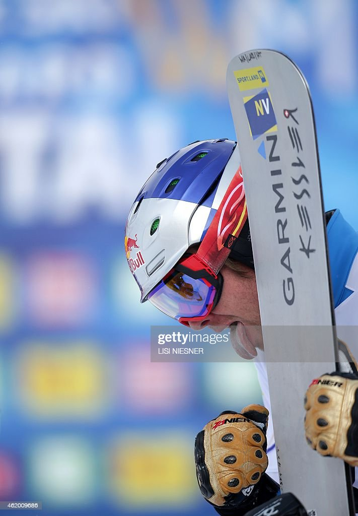 Third placed Austria's <a gi-track='captionPersonalityLinkClicked' href=/galleries/search?phrase=Benjamin+Karl&family=editorial&specificpeople=4586461 ng-click='$event.stopPropagation()'>Benjamin Karl</a> reacts after the Men's Snowboard Parallel Giant slalom finals at FIS Freestyle and Snowboarding World Ski Championships 2015 in Lachtal near Kreischberg, Austria on January 23, 2015. Andrey Sobolev of Russia won ahead of Zan Kosir of Slovenia and <a gi-track='captionPersonalityLinkClicked' href=/galleries/search?phrase=Benjamin+Karl&family=editorial&specificpeople=4586461 ng-click='$event.stopPropagation()'>Benjamin Karl</a> of Austria.