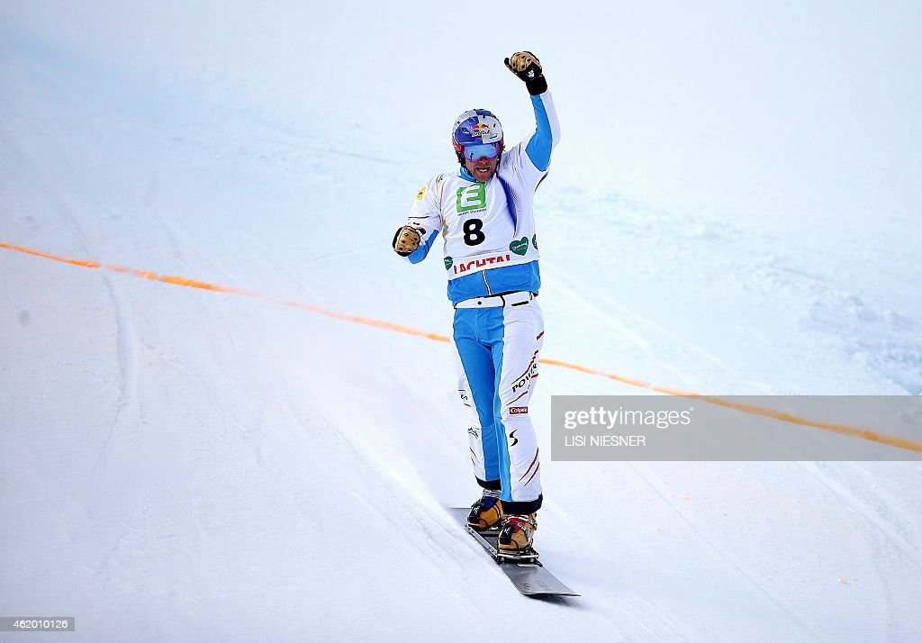 Third placed Austria's <a gi-track='captionPersonalityLinkClicked' href=/galleries/search?phrase=Benjamin+Karl&family=editorial&specificpeople=4586461 ng-click='$event.stopPropagation()'>Benjamin Karl</a> reacts after the Men's Snowboard Parallel Giant Slalom Finals of FIS Freestyle and Snowboarding World Ski Championships 2015 in Lachtal, Kreischberg, Austria on January 23, 2015.