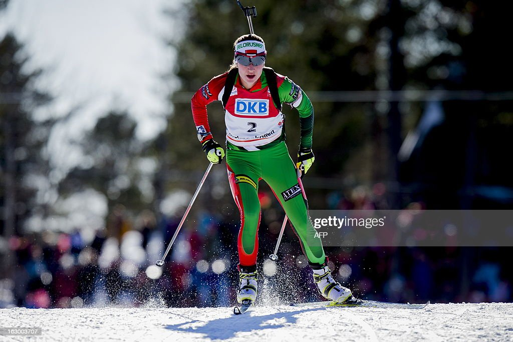Third placed Belarus Darya Domracheva competes in the women's 12,5 km mass start race Biathlon World Cup in Oslo on March 3, 2013. Norway's Tora Berger won and Slovakia's Anastasiya Kuzmina placed second in the event.