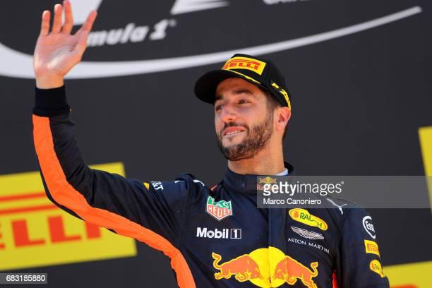 DE CATALUNYA MONTEMELò BARCELONA SPAIN Third placed finisher Daniel Ricciardo of Australia and Red Bull Racing celebrates on the podium during the...
