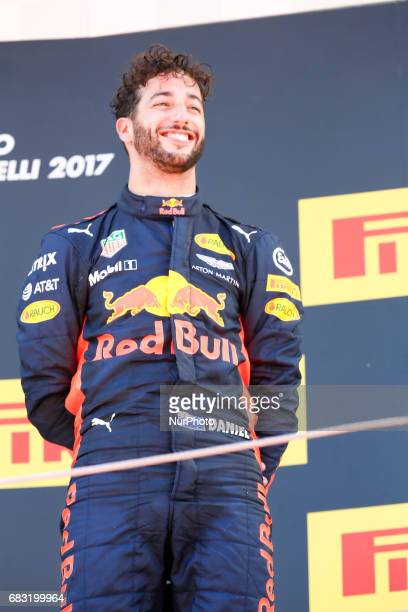 Third placed finisher Daniel Ricciardo of Australia and Red Bull Racing celebrates on the podium during the Spanish Formula One Grand Prix at Circuit...