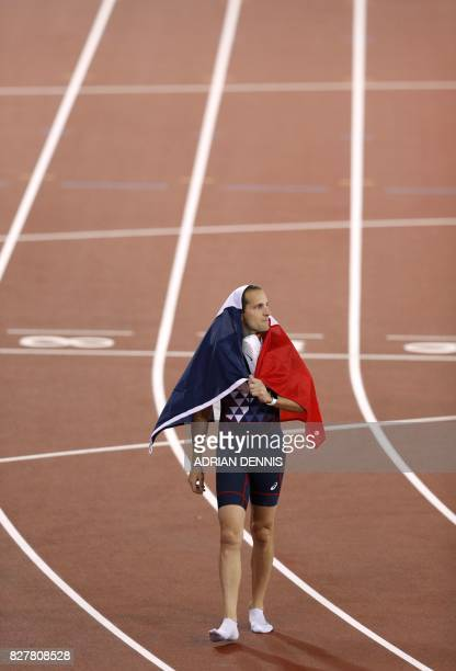 TOPSHOT Third placed France's Renaud Lavillenie celebrates after the final of the men's pole vault athletics event at the 2017 IAAF World...