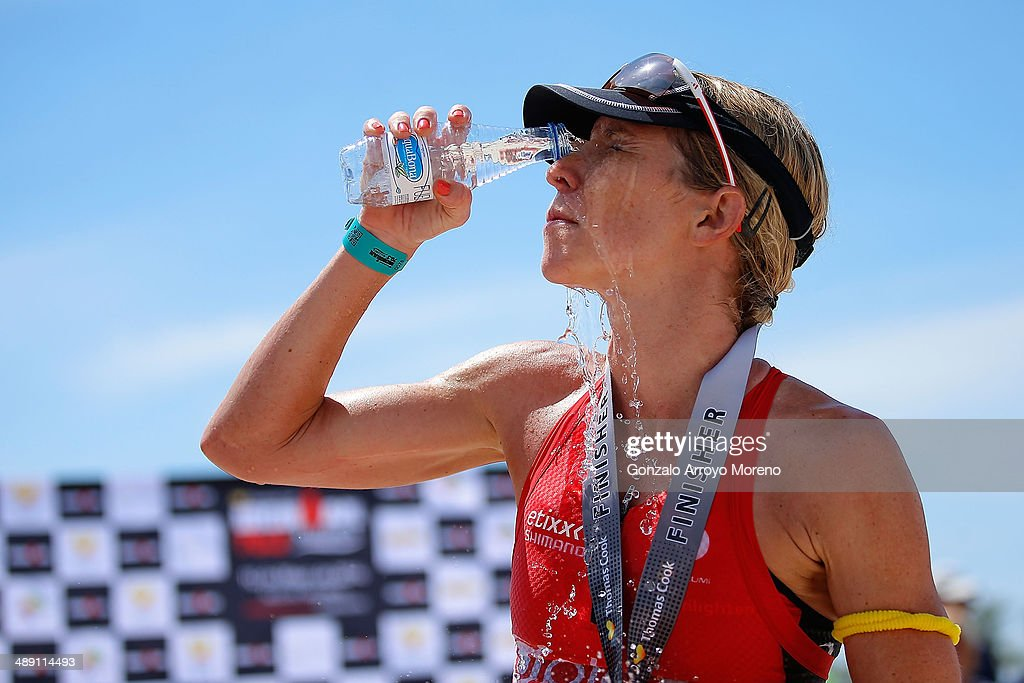 Third placed Liz Blatchford cools down after finishing the Ironman 70.3 Mallorca on May 10, 2014 in Mallorca, Spain.