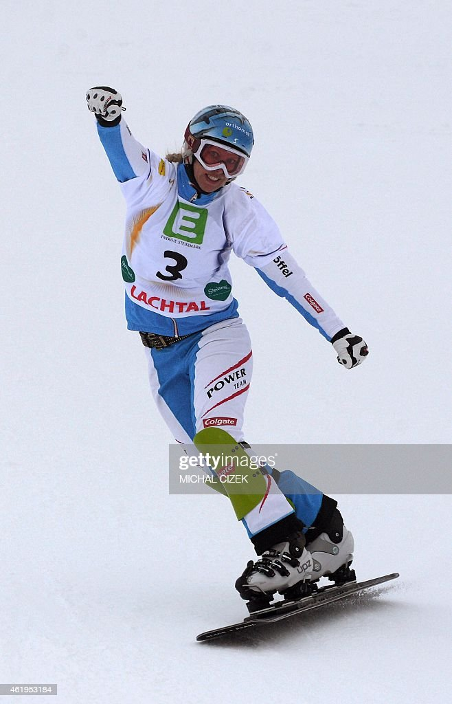 Third placed <a gi-track='captionPersonalityLinkClicked' href=/galleries/search?phrase=Marion+Kreiner&family=editorial&specificpeople=3071138 ng-click='$event.stopPropagation()'>Marion Kreiner</a> of Austria reacts during the Women's Snowboard Parallel Slalom Finals of FIS Freestyle and Snowboarding World Ski Championships 2015 in Lachtal near Kreischberg, Austria on January 22, 2015.