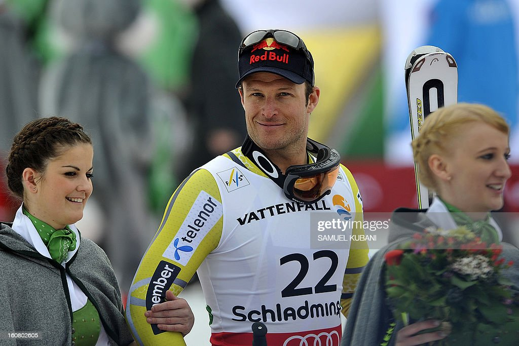 Third placed Norway's Alsel Lund Svindal celebrates during the podium ceremony after the men's Super-G event of the 2013 Ski World Championships in Schladming, Austria on February 6, 2013.