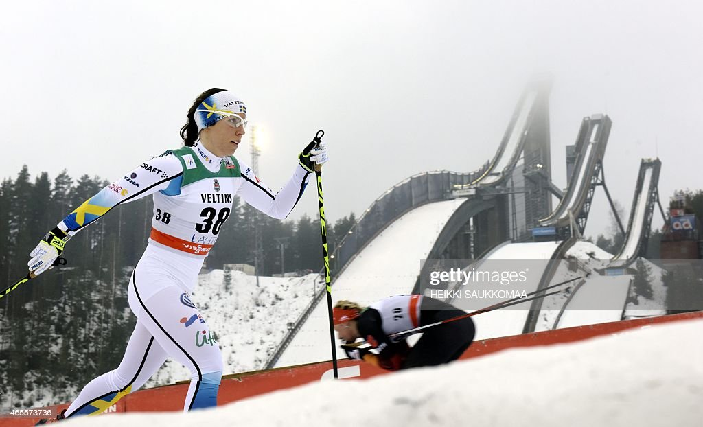 Third placed Sweden's <a gi-track='captionPersonalityLinkClicked' href=/galleries/search?phrase=Charlotte+Kalla&family=editorial&specificpeople=4081474 ng-click='$event.stopPropagation()'>Charlotte Kalla</a> competes during Ladies' FIS World Cup 10km classic style cross country skiing competition in Lahti Ski Games in Lahti, Finland on March 8, 2015. AFP PHOTO / LEHTIKUVA / Heikki Saukkomaa