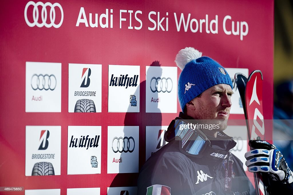 Third placed <a gi-track='captionPersonalityLinkClicked' href=/galleries/search?phrase=Werner+Heel&family=editorial&specificpeople=858153 ng-click='$event.stopPropagation()'>Werner Heel</a> of Italy reacts on the podium after the men's Alpine Skiing World Cup downhill race in Kvitfjell March 7, 2015. the men's Alpine Skiing World Cup downhill race in Kvitfjell on March 7, 2015. AFP PHOTO / SCANPIX NORWAY / STR+++NORWAY OUT