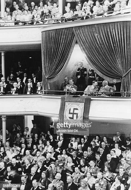 Third Reich Nuremberg Rally 1938 Gala performance of the 'Meistersinger' in the opera house in the VIP box from the right the head of the Nazi...