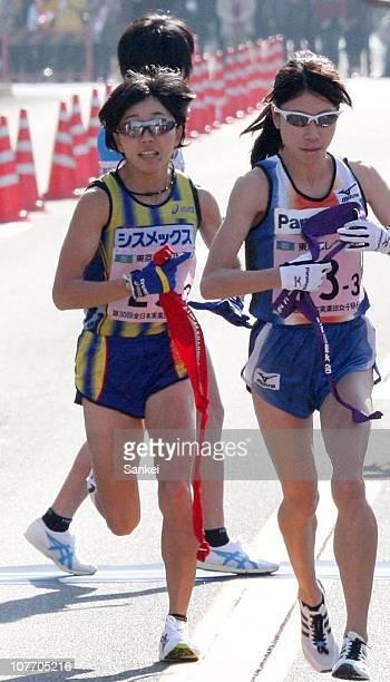 Third runner of Sysmex Mizuki Noguchi receives the sash in the 30th All Japan Women's Industrial Ekiden on December 19 2010 in Gifu Japan