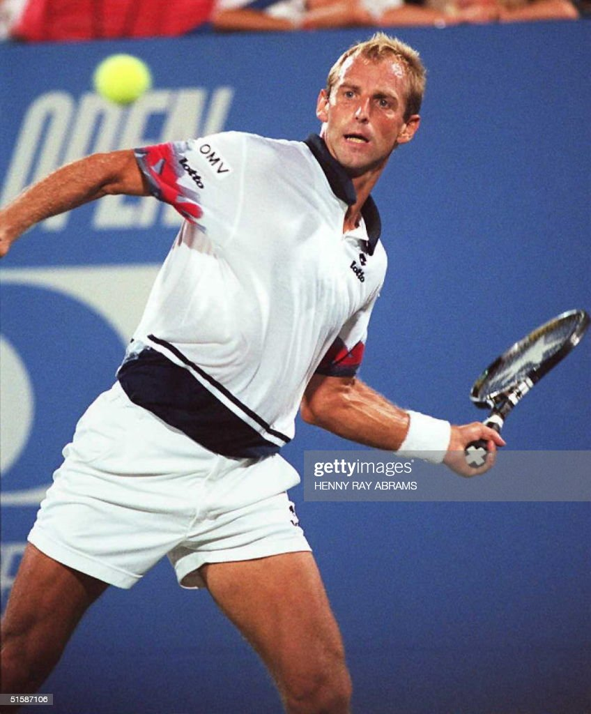 Third seed Thomas Muster of Austria prepares to return a shot to sixth seed Andre Agassi of the US in their quarterfinal match at the US Open 04...