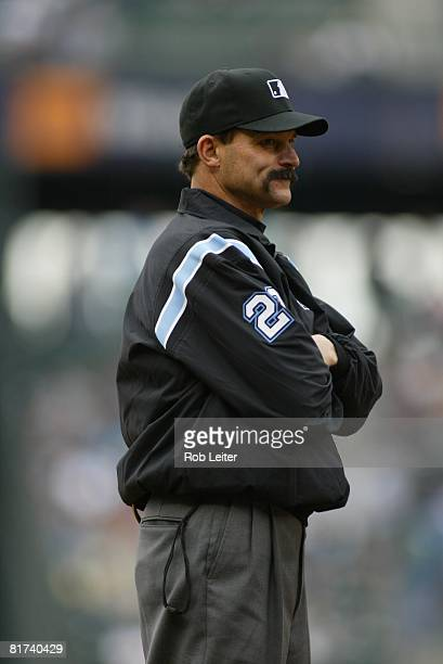 Thirdbase umpire Bill Hohn stands on the field during the game between the Seattle Mariners and the Detroit Tigers at Safeco Field in Seattle...
