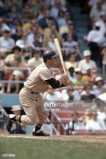 Thirdbaseman Ed Spiezio of the San Diego Padres watches the ball he's just hit during a game in May 1969 against the Cincinnati Reds at Crosley Field...