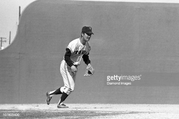 Thirdbaseman Shigeo Nagashima of the Tokyo Giants moves in towards the pitcher's mound during a Spring Training game in March 1971 against the...