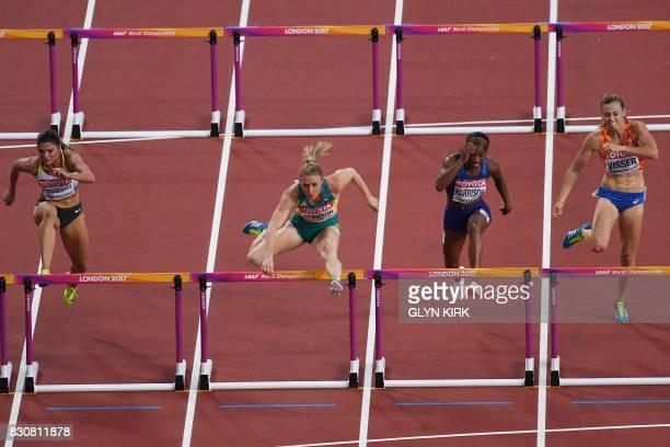 Thirdplaced Germany's Pamela Dutkiewicz winner Australia's Sally Pearson US athlete Kendra Harrison and Netherlands' Nadine Visser compete in the...