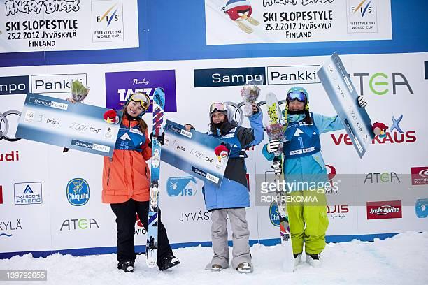 Thirdplaced Natalia Slepecka of Slovakia winner LinnIda Murud of Norway and secondplaced Eveline Bhend of Switzerland pose on the podium after the...