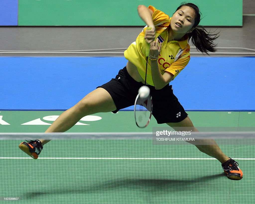 Third seeded Ratchanok Intanon of Thailand hits a return against