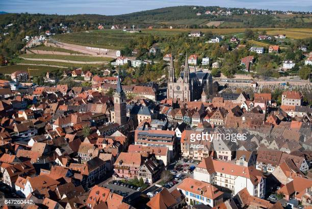 Thiriet Aerial view over the Alsace region in the BasRhin department City of Obernai