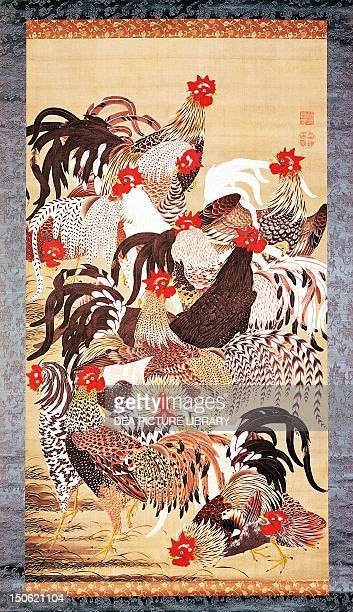 Thirteen roosters Ito Jakuchu painting on silk Japan Japanese Civilisation Edo period mid18th century