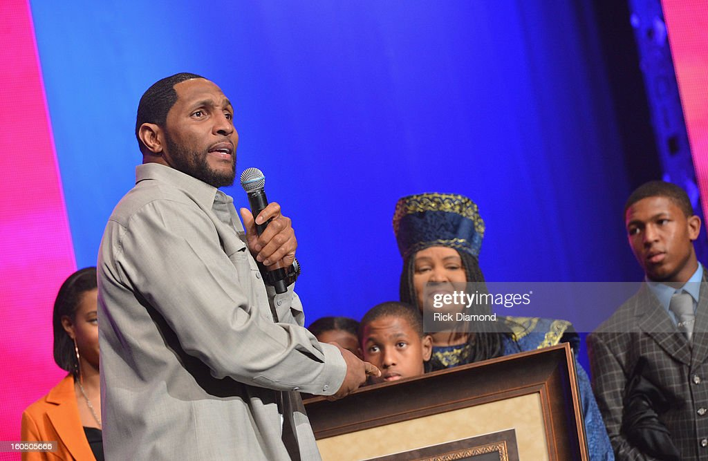 Thirteen-time Pro Bowler and Super Bowl XXXV MVP Ray Lewis of the Baltimore Ravens is honored with the prestigious Lifetime of Inspiration Award at the Super Bowl Gospel 2013 Show at UNO Lakefront Arena on February 1, 2013 in New Orleans, Louisiana.