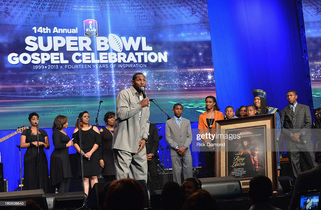 Thirteen-time Pro Bowler and Super Bowl XXXV MVP Ray Lewis of the Baltimore Ravens is honored with the prestigious Lifetime of Inspiration Award and is joined onstage by his family at the Super Bowl Gospel 2013 Show at UNO Lakefront Arena on February 1, 2013 in New Orleans, Louisiana.