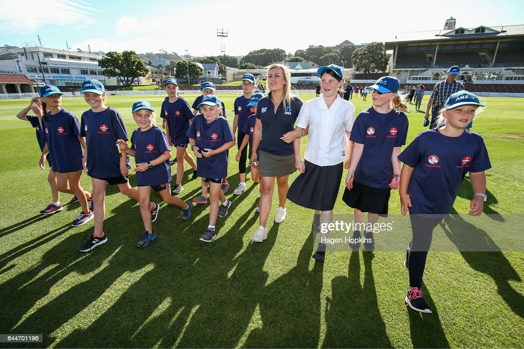 Thirteen-year-old Erin Buckland who is 'flying the flag' for females in cricket arrives with TV presenter Laura McGoldrick during the ANZ Dream Deliveries programme at Basin Reserve on February 23, 2017 in Wellington, New Zealand.