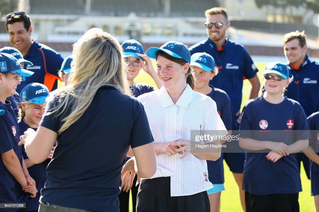 Thirteen-year-old Erin Buckland who is 'flying the flag' for females in cricket is all smiles during the ANZ Dream Deliveries programme at Basin Reserve on February 23, 2017 in Wellington, New Zealand.