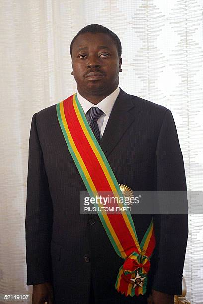 Thirty nineyearold Faure Gnassingbe waits prior to swear to oath 07 February 2005 at the presidential palace in Lome Togo's new President Faure...