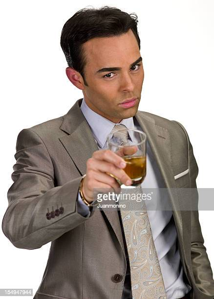 Thirty something business man toasting