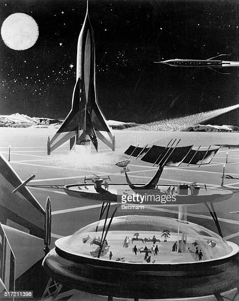 Thirty years from now this is what out big commercial airports may look like as conceived by an artisit from predictions made at a symposium of...