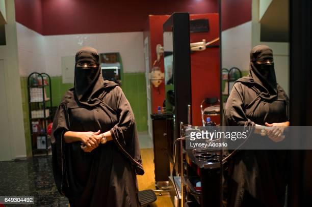 Thirtyyearold Saudi entrepreneur Bandari al Fawaz stands in her beauty salon fitness and nutrition center on its opening day in Riyadh Saudi Arabia...