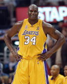 This 05 June 2002 file photo shows Shaquille O'Neal of the Los Angeles Lakers during the 4th quarter of game one of the NBA Finals against the New...