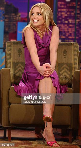 This 11 February 2002 file photo shows US pop star Britney Spears waiting to begin an interview with Jay Leno during a taping of The Tonight Show in...